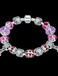 Lucky Doll Vintage  Silver Plated Gemstone & Crystal / Cubic Zirconia Link/Chain / Beaded / Charm Bracelet