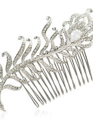 Bridal Wedding Hair Jewelry Accessories Feather Hairpins Crystals Rhinestone Hair Combs