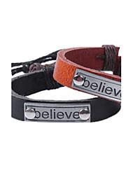 Men's Black/brown Believe Leather Weave Adjustable Bracelet