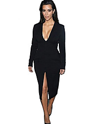 Women's Plus Size Deep V-Neck Fashion Solid White/Rose Red Long Sleeve Slim Fit Bodycon Sexy Dresses