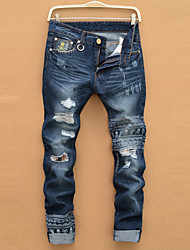 Men fashion  brand jeans men male straight leg denim trousers business pants black jeansBANT13