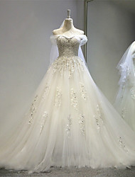 A-line Wedding Dress Vintage Inspired Court Train Off-the-shoulder Tulle with Appliques Crystal Lace