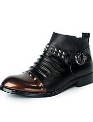 Masculino-Botas-Conforto / Botas de Neve / Botas Cano Curto / Bico Fechado / Botas da Moda-Rasteiro-Preto / Marrom-Couro / Tecido-