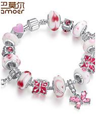 Style  Silver Crystal Charm Bracelet for Women Beads DIY Jewelry
