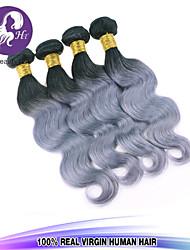 4pcs / lot onda del cuerpo vírgenes paquetes armadura del pelo brasileño del pelo humano de plata del pelo brasileño pelo gris teje