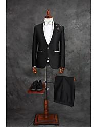 Costumes Coupe Sur-Mesure Cranté Fin Droit 1 bouton Mélange de Coton Guingan 2 Pièces Noir Poche Plaquée Single (Un) Noir Single (Un)