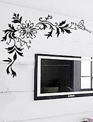 Black Flower Vine TV Backdrop Wall Stickers
