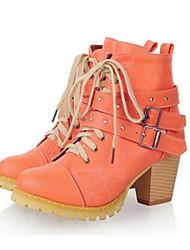 DamenOutddor / Lässig-Kunstleder-Blockabsatz-Modische Stiefel-Blau / Beige / Orange