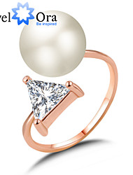 New Fashion Noble Pearl Aolly Triangle AAA CZ Stone Band Ring For Woman&Lady
