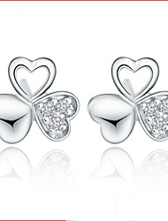Lureme®  Korean Fashion Sweet 925  Sterling Silver Lovely Crystal Clover Earrings