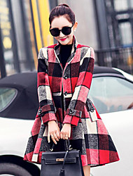 Women's Plaid Multi-color Coat , Casual / Party Long Sleeve Wool