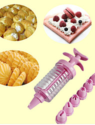 8 In 1 Cookies Decorating Tools Cream Crowded Flower Implement Puff Cookies Mold Baking Suit Random Color