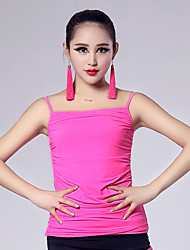 Imported Nylon Viscose with Pleated Latin Dance Tops for Women's Performance(More Colors)
