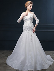 Trumpet/Mermaid Wedding Dress - Ivory Sweep/Brush Train Bateau Lace