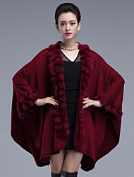 Women's  Vintage Long Cloak / Capes,Solid Red / Black / Brown / Purple  Long Sleeve Rabbit Fur / Acrylic Winter Medium