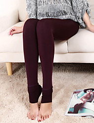 Women Casual Slim Stretchy Autumn Warm Fleece Lined Thicken Trample Feet Tights Leggings Pantyhose