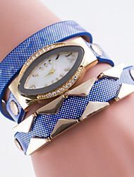 Women's Simulated Diamond Watch Bracelet Watch Quartz Imitation Diamond Leather Band Black White Blue Red Brown Pink Purple Navy
