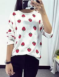 Tee-shirt Aux femmes,Imprimé Décontracté / Quotidien simple Automne Manches Longues Col Arrondi Blanc Coton / Polyester Fin