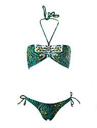 Damen Bikinis  -  Floral Push-Up / Drahtlos Nylon / Elasthan / Vlies Halfter