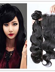4pcs / lot peruano extensões de cabelo virgem dyeable cabelo feixes onda do corpo com fechamento superior do laço do cabelo humano tecer