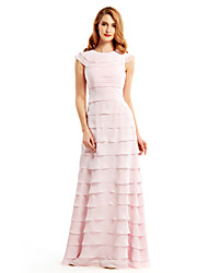 Sheath/Column Mother of the Bride Dress - Blushing Pink Floor-length Sleeveless Chiffon