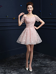 Formal Evening Dress A-line Off-the-shoulder Knee-length Lace with Appliques / Sequins