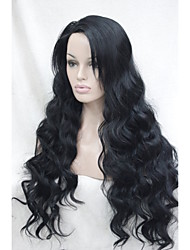 Lace Front High Quality Heat Friendly Synthetic Hair Black Wavy  Long Full Wig  HHG-9207 1#