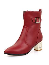 DamenOutddor / Büro / Lässig-Kunststoff-Blockabsatz-Pumps / Modische Stiefel-Schwarz / Rot