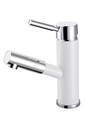 lavabo bagno Miscelatore lavandino ottone cromato bianco monocomando maniglia con estraibile spruzzatore dispersore rubinetto miscelatore