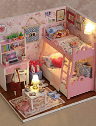 Creative Gifts Diy Craft Gift Of Birthday Hut Model DIY Dollhouse Including All Furniture Lights Lamp LED