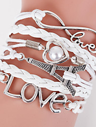 Multilayer Eiffel Tower & Love Weave Bracelet,White inspirational bracelets Christmas Gifts