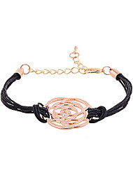 Fashion Friendship Hollow Out Rose Wax Cord Charm Bracelet
