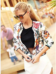 Women's Print Multi-color Jackets , Casual Round Neck Long Sleeve
