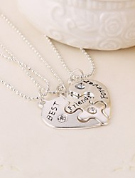 New Arrival Heart Shape Best Friends Pendant Necklace(3pcs/set)