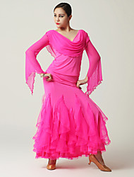 Imported Nylon Viscose and Tulle with Ruched Ballroom Dance Outfits for Women's Performance (More Colors)