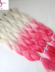 "24"" 100g White &Pink Ombre xpression Two Tone Kanekalon Jumbo High Temperature Fiber Box Braiding Synthetic Hair"