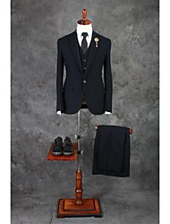 Suits Tailored Fit Peak Single Breasted One-button Cotton Blend Checkered / Gingham 3 Pieces Dark Green