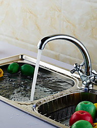 KALUD Chrome Two Handles Hot and Cold Water Brass Bathroom Kitchen Faucet
