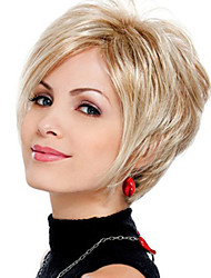 Popular Woman's Light Gold Straight Short Synthetic Wigs