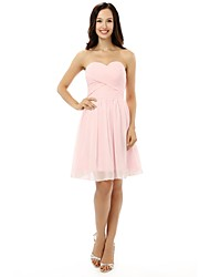 Knee-length Chiffon Short Bridesmaid Dress - A-line Sweetheart with Bandage