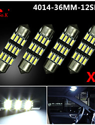 4X NEW White 36mm 12 4014 SMD Festoon Dome Map Interior LED Light Lamp DE3175 3022 12V