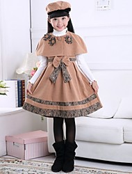 Girl's Brown Clothing Set,Bow / Dresswear Polyester Winter / Fall