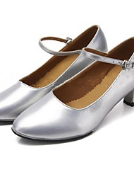 Non Customizable Women's Dance Shoes Leatherette Leatherette Modern Heels Chunky Heel Performance / Practice / Professional Silver / Gold