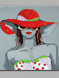 Single Modern Abstract Pure Hand Draw Ready To Hang  Decorative Wear Red Hat Women Oil Painting