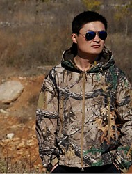 Men Outdoor Camouflage Winter Thicken Fleece Shell Jacket Coat Camo Hunting Fishing Suits (Jacket + Trousers)