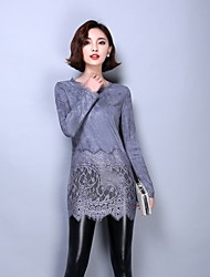 Sexy Women's Round Neck Long Sleeve Lace Splicing Suede Casual Shirt Tops Blouse