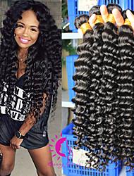 Hair Weave vierge péruvienne profonde 3pcs d'onde / lot 6a péruvien vague profonde cheveu humain regroupe cheveux bouclés péruvien