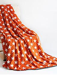 Flanelle Bleu / Orange,Imprimé Toile Coton / Polyester couvertures 140cm*200cm