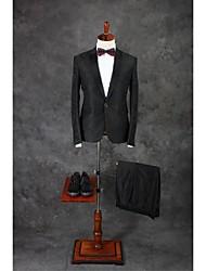 Anzüge Reguläre Passform Fallendes Revers Einreiher - 1 Knopf Baumwolle Einfarbig 2-teilig Dunkelgrau Gerade Doppel (zwei) Dunkelgrau