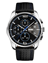 SKMEI Men's Wrist watch Quartz Japanese Quartz Calendar Chronograph Water Resistant / Water Proof Leather Band Black